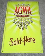 """Vintage AGWA De Bolivia Coca Leaf Liqueur Tin Metal 9.5"""" x 16"""" Bar Sign NOS New"""