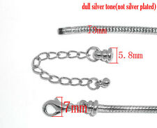 1 x Silver Plated Lobster Clasp Snake Chain Bracelet 15cm - L10314