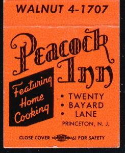 PRINCETON NJ Peacock Inn Alley Vtg Hotel Restaurant Match Book Cover Old Ad