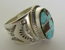Native American Sterling #8 Mine Turquoise Ring Size 7.5 With/C.O.A Signed FAT