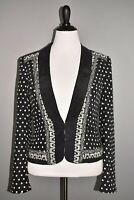WHITE HOUSE BLACK MARKET $178 Black Polka Dot Silk Cropped Blazer Size 12