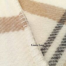 BERKSHIRE SOFTWORKS Washable Wool KING BLANKET Ivory Grey Camel Plaid Portugal