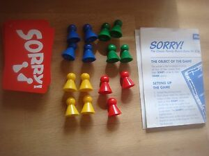 Waddingtons Sorry Replacement - Spare Playing Pieces / Cards Round & Rectangle