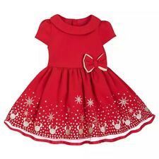 Disney Store Minnie Mouse ICON Holiday Christmas Baby Dress Red Glitter Gold New