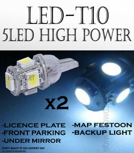 4 piece T10 168 194 W5W White 5 LED 5050 Chips Replaces Parking Light Lamps Z201