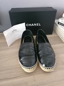 Chanel Espadrilles Sz 38 Black Crinkled Patent Leather
