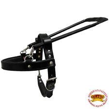 Medium Guide Dog Harness Hilason Black Padded Genuine Leather  W/ Handle U-00-M