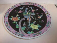 VINTAGE JAPANESE BLACK PLATE W/ BIRDS FLOWERS YAMATOKU HANDPAINTED #2