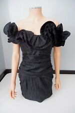 by Barbara Barbara Black Vintage Dress Cocktail Size Uk 6 Ruffle
