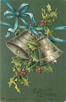 Christmas~Blue Ribbon Swings Pewter Bells~Holly Berry~Hunter Green~Emboss~EAS