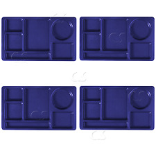 4x Cafeteria School Lunch Food Tray Navy Blue Divided 6-Compartment Cambro 915CW