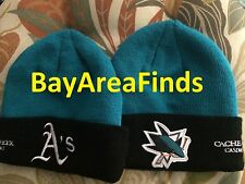Rare Oakland A's San Jose Sharks No Yarn Ball Knit Cap SGA Athletics Beanie hat