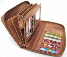 RFID Security Lined Zip Around Purse. Full Grain  Hunter & Black  Leather 22052
