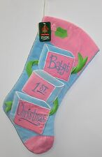 BABY'S FIRST CHRISTMAS STOCKING Blocks Boys Girls Blue Pink Unisex Holiday NEW
