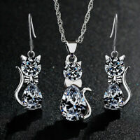 Fashion Women Crystal Cute Cat Earrings Pendant Necklace Silver Wedding Jewelry