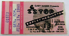 Zz Top Concert Ticket Stub Expect No Quarter Reno Nv Feb. 13 1980 Good Conditio