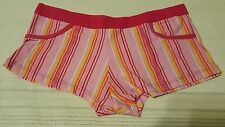 Pink Striped Low Rise Boyshorts with Multcolor Stripe  Size Small  10142