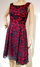 REVIEW sz 8 cerise (red - pink) & black floral lace DRESS fully lined excel cond