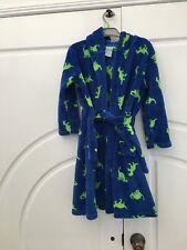 Boys Size 5 Blue & Green Dressing Gown Robe Dinosaur Motif Soft Plush Tie Waist