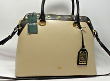 RALPH LAUREN TATE NOVEL DOME SATCHEL PORCINI/BLACK Leather Handbag $278 NEW