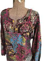 Womens Lucky Brand Small Top Peasant Shirt Long Sleeve Floral Pompom Vneck Boho