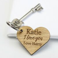 'I Love You' Personalised Wooden Heart Keyring, Valentine Romantic Gifts