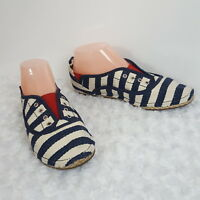 Gianni Bini Womens Espadrille Flats Blue White Stripe Slip On Casual Shoes 6.5 7