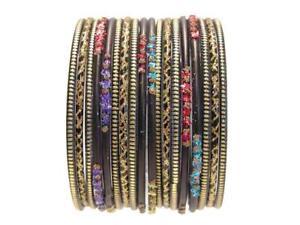 Rainbow Black Ethnic Glass Bangles Classic Indian Sari Saree Bracelet Set 2.10ML