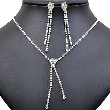 Shiny Diamante White Bridal Evening Jewellery Set Drop Earrings Necklace S429