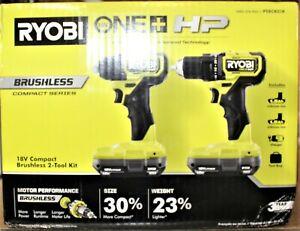 "Ryobi ONE+ HP 18V Brushless Compact 1/2"" Drill & Impact Driver Kit #PSBCK01K"
