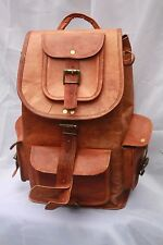 16'' Handmade Genuine Leather Rucksack Backpack School Bag College New Travel