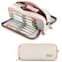 ANGOO Large Pencil Case Big Capacity 3 Compartments Canvas Pencil Pouch for B9P6