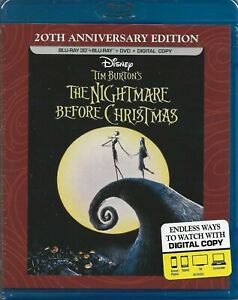 The Nightmare Before Christmas (2D/3D Blu-ray/DVD + Digital copy, 3-Disc) NEW!