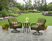 3 Piece Green Cushion Patio Bistro Swivel Seating Set Outdoor Home Furniture