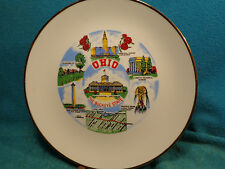 "Vtg 8 -5/8"" Ohio Hardig Memorial Schoenbrunn Carew Tower Terminal State Plate"