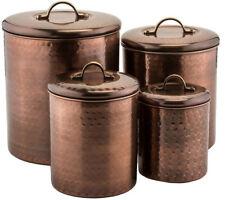 4-Piece Canister Set Antique Copper Stainless Steel Kitchen Storage Sugar Flour