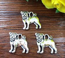 6pcs Dog Tibetan Silver Bead charms Pendants DIY jewelry 15x15mm