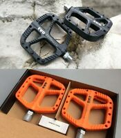 EVO Nylon fiber MTB Road Bike Pedal DU Bearing Flat Platform Pedals Black/Orange