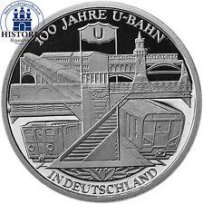 Deutschland 10 Euro 100 Jahre U-Bahn 2002 Spiegelglanz Silber-Münze in Kapsel