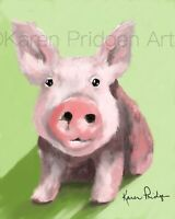 ACEO ATC Art Card Painting Print Signed Pig Farm Animal Pet