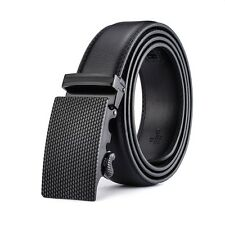 Luxury Pure Black Automatic Buckle Belt Real Leather Strap Men Gift With Jeans