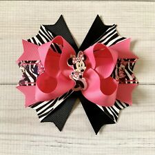Handmade Hot Pink ,Zebra And Black Minnie Mouse Boutique Stacked Hair Bow