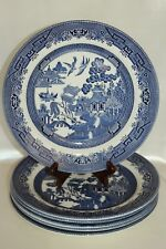 """Churchill Blue Willow 10.25"""" Dinner Plate Staffordshire England Set of 6"""