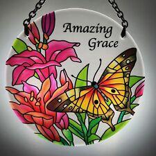 Joan Baker Hand painted Suncatcher-Mc206R-Butterf lies/Lilies/Amazing Grace New