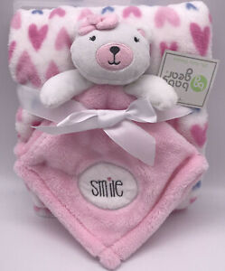 """HTF New Baby Gear Teddy Bear Lovey """"Smile"""" Pink Hearts Baby Blanket Security C2"""