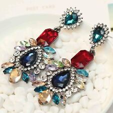 Handmade Multi Crystal Ear Drop Dangle Stud Ancient Silver long Tassels Earrings
