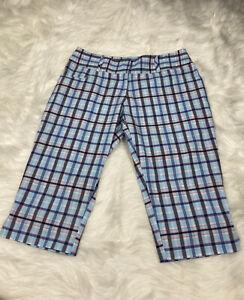 ADIDAS CLIMATE Women's Size 4 Bermuda Golf Shorts Plaid Blue Free Shipping