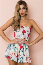 Women off Shoulder Boho Holiday Mini Playsuit Ladies Jumpsuit Summer Beach Dress Red 8