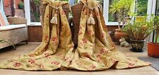 """HUGE PAIR OF  GOLD EMBROIDERED  INTERLINED CURTAINS 82"""" DROP BY 51"""" WIDTH"""