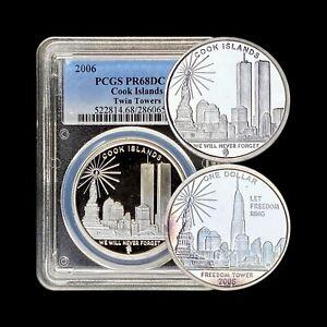 COOK ISLAND. 2006, 5 Dollars, Silver - PCGS PR68 - Top Pop🥇 World Trade Center